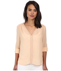 Christin Michaels Sheer Dahlia Blouse Sequin With Roll Up Sleeve And Tab Blush Women's Blouse Pink
