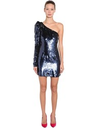 Amen Sequined Asymmetrical Mini Dress Blue
