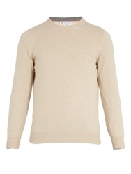 Brunello Cucinelli Crew Neck Wool Bend Knit Sweater Beige