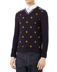 Gucci Wool V Neck Sweater With Bees Ink