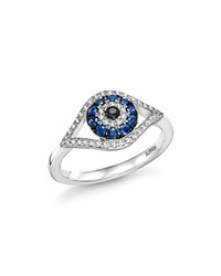 Bloomingdale's Sapphire And Diamond Evil Eye Ring In 14K White Gold