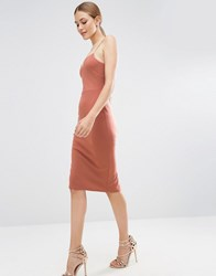 Asos Scuba Deep Plunge Midi Bodycon Dress Dark Nude Brown