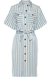 Paul And Joe Belted Striped Satin Twill Dress Light Gray