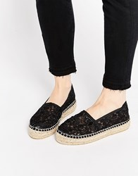 Carvela Super Lace Flatform Espadrilles Black Fabric