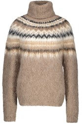 Celine Fair Isle Roll Neck Alpaca Jumper Light Brown