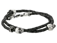 King Baby Studio Thin Braided Black Leather W Hamlet Skulls Double Wrap Bracelet Black Bracelet