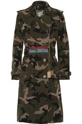 Valentino Embellished Camouflage Print Cotton Canvas Trench Coat Army Green