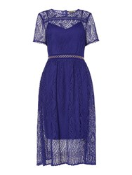 Biba Lace Eyeles Detail Midi Dress Cobalt