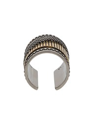 Alexander Mcqueen Mechanical Two Tone Ring Silver