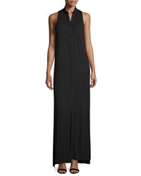 Haute Hippie The Cady Button Front Voile Maxi Dress Black Women's