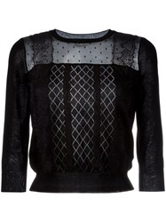 Red Valentino Embroidered Knitted Blouse Women Cotton Polyamide S Black