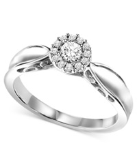 Macy's Diamond Solitaire Engagement Ring In Sterling Silver 1 4 Ct. T.W.