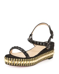 Christian Louboutin Cataclou Zigzag Braided Studded Platform Red Sole Espadrille