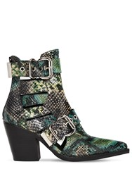 Jeffrey Campbell 75Mm Guadalupe Snake Print Leather Boots Green Multi