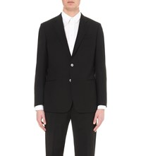 Armani Collezioni Single Breasted Wool Jacket Black