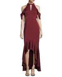 Shoshanna Montrose High Low Ruffle Cold Shoulder Gown Port