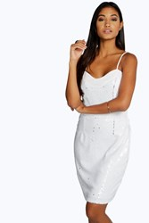 Boohoo Kayla Sequin Mesh Panelled Bodycon Dress White