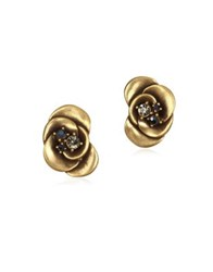 Badgley Mischka Floral Stud Earrings Gold