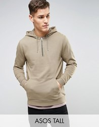 Asos Tall Hoodie With Half Zip In Beige Newt
