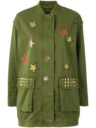 Bazar Deluxe Star Print Military Coat Green