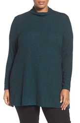 Sejour Plus Size Women's Mock Neck Rib Knit Tunic Teal Pattern