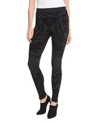 Ralph Lauren Baroque Velvet Devore Moto Leggings Black