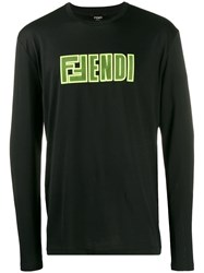 Fendi Logo Printed Sweatshirt Black