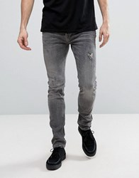 Allsaints Jeans In Skinny Fit Washed Grey With Distressing Dark Grey