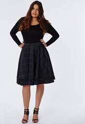 Missguided Plus Size Tartan Mesh Panel Skater Skirt Green