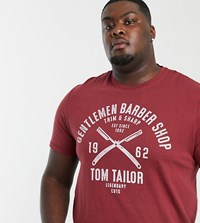 Tom Tailor Plus T Shirt With Barber Issue Print Tan