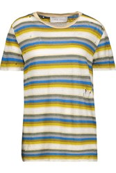 Iro Vania Distressed Striped Linen T Shirt Multi