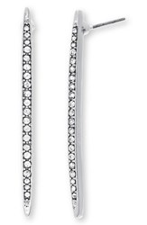 Steve Madden Women's Stone Bar Earrings Silver