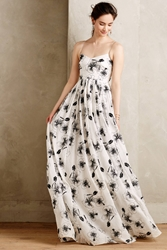 Tracy Reese Beaded Hibiscus Gown Black Motif