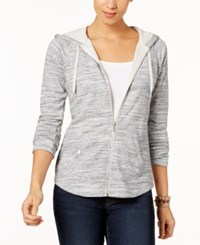 Style And Co Zip Front Jacket Created For Macy's Blue Spacedye