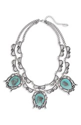 Natasha Dual Strand Statement Necklace Silver Turquoise