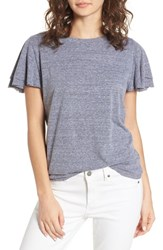 Socialite Flutter Sleeve Tee Heather Charcoal