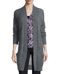 Rebecca Taylor Long Sleeve Pointelle Knit Cardigan Gray