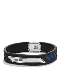 David Yurman Graphic Cable Leather Id Bracelet In Black With Blue Accents Black Blue