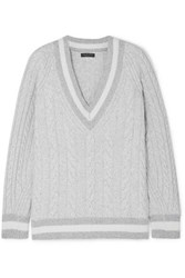 Rag And Bone Theon Oversized Striped Cable Knit Merino Wool Sweater Gray