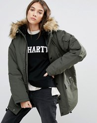 Carhartt Wip Oversized Anchorage Hooded Parka Jacket With Removable Faux Fur Khaki Green