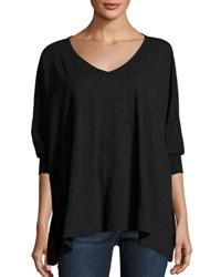 Allen Allen V Neck Dolman Sleeve Top Black
