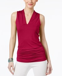 Inc International Concepts Ruched V Neck Top Only At Macy's Real Red