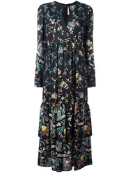 Antonio Marras Floral Print Keyhole Neck Dress Black