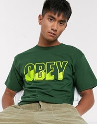 Obey Block Buster Ii T Shirt In Green