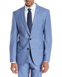 Boss Melange Wool Two Piece Suit Light Blue