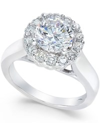 X3 Certified Diamond Halo Engagement Ring 2 Ct. T.W. In 18K White Gold