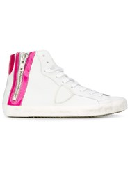 Philippe Model Side Zip Hi Top Sneakers White