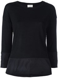 Moncler Contrast Trim Knitted Top Black