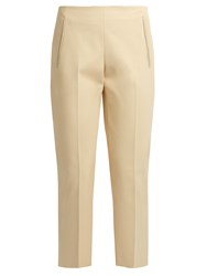The Row Nowa Stretch Cotton Cropped Trousers Light Beige