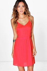 Boohoo Cut Out Side Strappy Sundress Poppy